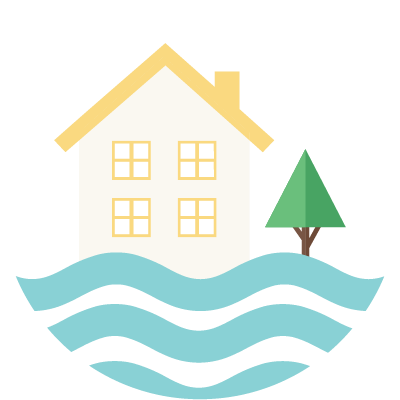 Icon depicting a flooded home